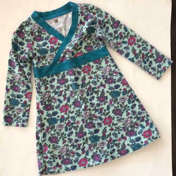 Tea Collection Other - TEA Collection Floral Bird Print Wrap Neck Dress